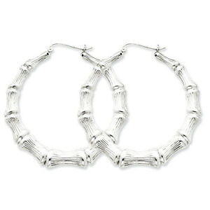 925 Sterling Silver Rhodium Plated Bamboo Hinged Hoop Earrings 3mm x 45mm