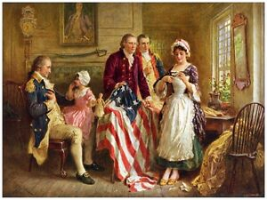 5995.Betsy Ross shows george washington her flag.POSTER.Home Office art