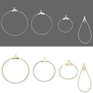10 Beading Hoop Earring Finding Components w Loop Big Small Plated Brass Metal $3.99