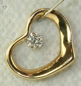 CONTEMPORARY MODERN 14K GOLD DIAMOND FLOATING HEART PENDANT FOR A NECKLACE