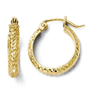 Leslies 10k Yellow Gold Textured Diamond Cut 2.8mm x 14mm Hinged Hoop Earrings