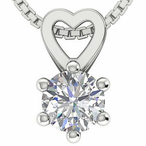 Solitaire Natural Diamond Pendant Necklace I1 H 0.70Ct 14K Solid Gold Six Prong
