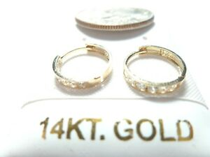 10 or 14k Pure WhiteYellow SOLID GOLD Cubic Zirconia 10MM & 11MM Huggie Earring