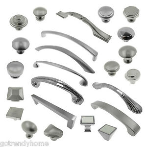 Brushed Satin Nickel Knobs Pulls Kitchen Cabinet Handles HardwareCloset Vanity $0.99