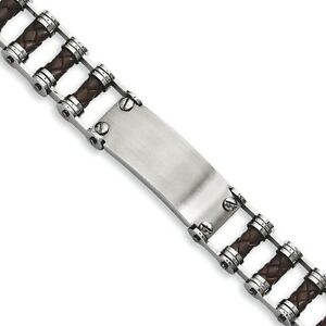 Men's Chisel Stainless Steel Brown Leather with Engravable ID plate Bracelet 9