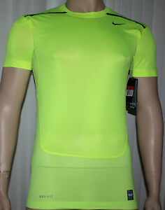 Nike Pro Combat Men's Dri-Fit HyperCool Compression Shirt VoltObsidian sizes **