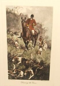 GEORGE WRIGHT quot;DRAWING THE GORSEquot; FOX HUNTING HAND COLOR ENGRAVING $125.00