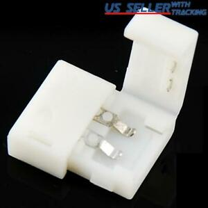 100-pack 8mm 2-pin Solderless Clip-on Coupler Connector for 3528 LED Strip Light
