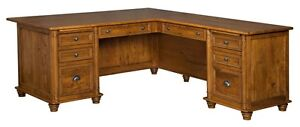 Amish Executive Corner Computer Desk Traditional Solid Wood Office Furniture