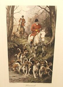 GEORGE WRIGHT quot;HOMEWARDSquot; FOX HUNTING HAND COLOR ENGRAVING $99.99