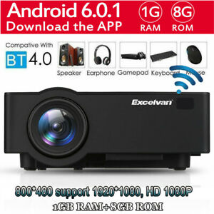 4K WiFi Wireless 1080P Projector Android IOS Home Theater LED 1+8GB HDMI 3600LM