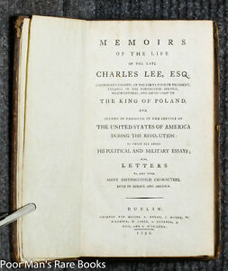 MEMOIRS  LATE CHARLES LEE 2ND IN COMMAND UNDER GW US REVOLUTION 1792 DUBLIN 1ST