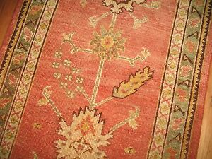 Antique Gorgeous Turkish Oushak Ushak Rug Runner Size 3'x12'3''