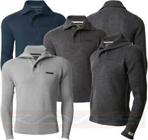Mens Dissident Jumper Knitted Top Sweater Pullover Funnel Neck Winter 1A2886
