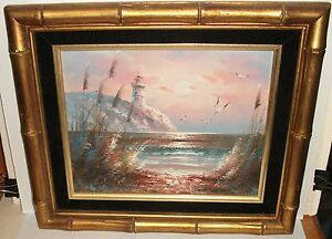 ORIGINAL OIL ON BOARD SEA SHORE LIGHTHOUSE PAINTING $49.99