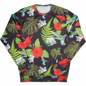 New Mens Neff Floral Day Crew Sweatshirt Large Black with Tropical Floral Print