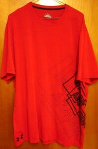 UNDER ARMOUR red lrg athletic T shirt dri-fit dry elastane T shirt performance