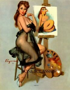 SEXY PINUP GIRL EASEL CHEESECAKE ELVGREN 8.5X11 POSTER PICASSO ART ME Surrealism $11.26