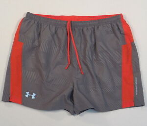 Under Armour Flyweight Gray & Orange Brief Lined Running Shorts Mens NWT