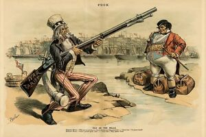 UNCLE SAM ARMED WITH BLACK POWDER FIREARM WAR TARIFF JOHN BULL BAGS PACKED SHIPS