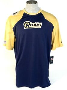 Nike Dri Fit St. Louis Rams Blue & Gold Short Sleeve Athletic Shirt Mens NWT
