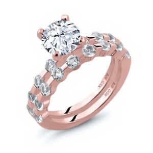 2.68 Ct Round White Topaz 18K Rose Gold Plated Silver Ring