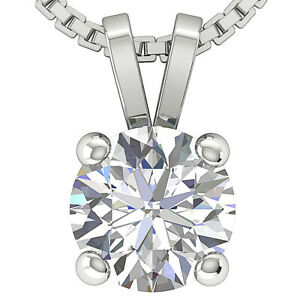 1.00Ct Round Cut Diamond Solitaire Pendant Necklace 14K Solid Gold Prong Setting
