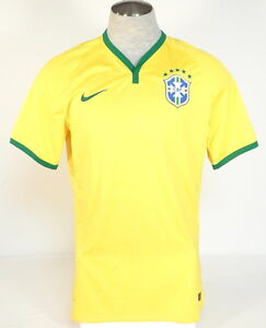 Nike Dri Fit CBF Authentic Brazil 2014 Maize Short Sleeve Home Jersey Men's NWT
