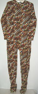 New Adult Womens Footed Pajamas Sz Medium Joe Boxer Leopard Tiger Sleepwear