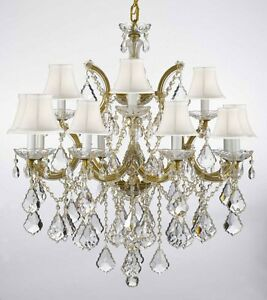 Made With Swarovski Crystal Chandelier Lighting With White Shades H30