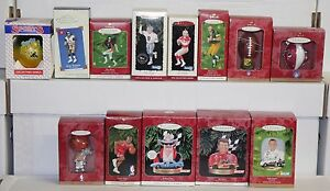 Sports Hallmark Keepsake Holiday Christmas Tree Ornaments 13pc Football Nascar