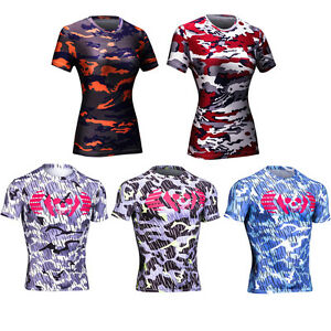 Mens Womens Cycling Sports Slim Fit Camo Tee Gym Trainer Quick Dry T-shirt M-2XL