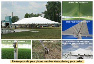 40x80 White Vinyl Classic Pole Tent for Wedding Outdoor Event Party Catering