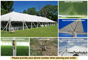 40x120 White Vinyl Classic Pole Tent for Wedding Outdoor Event Party Catering