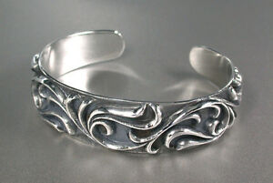 Oxidized Arabesque Men's Bangle Bracelet - Sterling Silver .925 BIKER ROCK