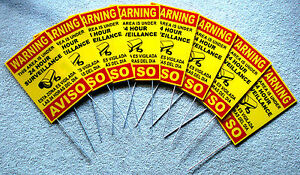 8 Security Video Surveillance Warning Signs 8x12 Spanish English w/Stakes yellow