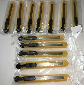 LOT OF 12 UTILITY KNIFE BOX CUTTERS PLASTIC SNAP OFF BLADES 5 8quot; WIDE 5quot; LONG