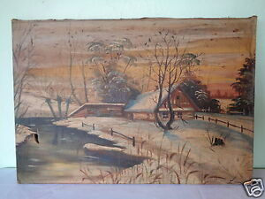 ANTIQUE SIGNED MYSTERY ARTIST WINTER FARMHOUSE BY RIVER CANVAS PAINTING DAMAGED $125.00