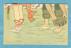 A1048   Postcard  Man and Woman Wading in The Sea With Bucket Beach Shoes