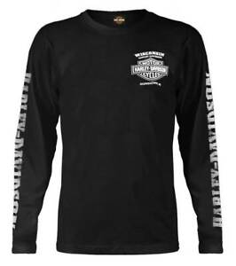 Harley-Davidson Men's Skull Lightning Crest Graphic Long Sleeve Shirt Black