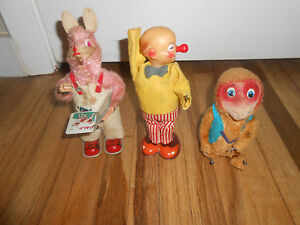 lot of 3 wind up toys alps reading bunny