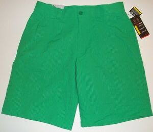 New Under Armour Men's Bent Grass Pinstriped Golf Shorts Choose Size Kelly Green