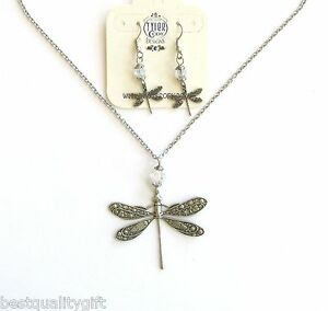 TYLER CODY SILVER TONE SS CHAIN DRAGONFLY+SWAROVSKI CRYSTAL NECKLACE+EARRINGS