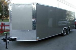 Enclosed Trailer 8.5#x27;x24#x27; Silver Car Motorcycle Cargo Hauler