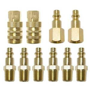 10 Pc 1 4quot; NPT Brass Air Tool Couplers W Adapter Quick Disconnect Hose Fittings
