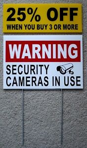 WARNING SECURITY CAMERAS IN USE Coroplast  YARD SIGN 8x12  w/ Stake  Security