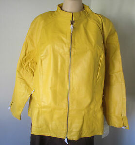 NWT Women's Plus Gold Yellow Leather Jacket Jessica London 22W 24W 28W 30W 32W