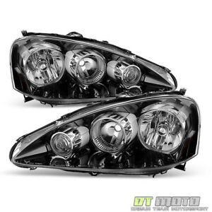 Black 2005 2006 Acura RSX Headlights Headlamps Pair LeftRight Replacement 05 06 $208.99