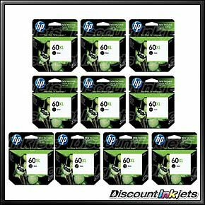 10 GENUINE HP 60XL BLACK Ink Cartridge CC641WN 60 XL Deskjet F4280 D1660 F4480