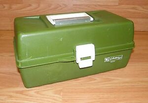 Vintage Ted Williams (34444) Green Fishing Lure Tackle Box w Dual Pop-Up Trays